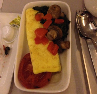 Gluten Free premium economy class breakfast on Air New Zealand from SFO to Auckland