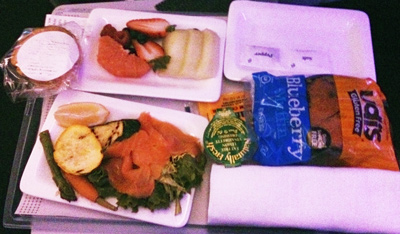 Gluten Free economy class dinner on Air New Zealand from Auckland to Hong Kong
